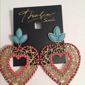 Multi Colored Heart Drop Earrings